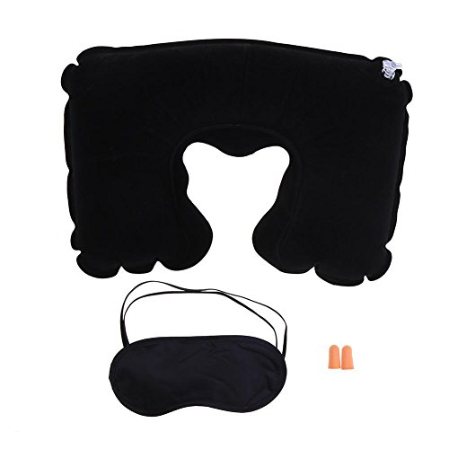 N/F Outdoor Accessories Black Flocking Soft U Shaped Air Inflatable Pillow with Eyes Cover Earplugs Three-piece Suit