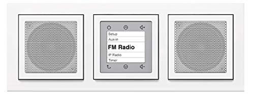 Berker Unterputz Radio (Einbauradio) Komplett-Set - 28848989 inkl. 2 x Lautsprecher und 3fach Rahmen in polarweiß glänzend - UKW-Radio mit RDS-Anzeige - Stereobetrieb