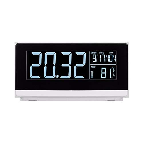 TTHH Reloj Despertador Cargador inalámbrico, Gran Pantalla LCD HD Relojes de Alarma Mesita de Noche 3 Engranajes Luz Suave Carga rápida de 10 vatios