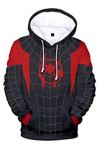Cosplay Sudadera con Capucha Spider-Man Miles Morales Spiderverse(2XL Tamaño)