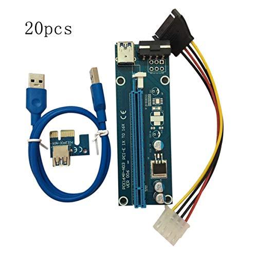 sdfghzsedfgsdfg 20 Stück/Set PCI-E PCI Express 1X bis 16X Extender Riser-Karte USB 3.0-Kabel SATA-4Pin-IDE-Netzkabel für BTC Miner-Maschine