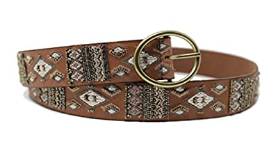 Lucky Brand Women's Beaded Brown Leather Belt (X-Large)
