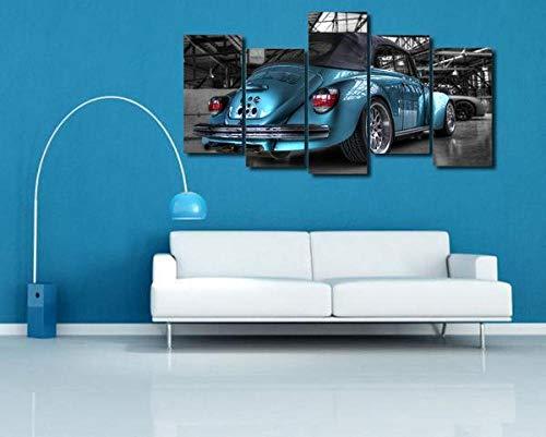 GSDFSD So Crazy Art - Volkswagen Bug Beetle Azul Rebajado Cuadros Decoracion De Pared 5 Piezas Modernos Mural Fotos para