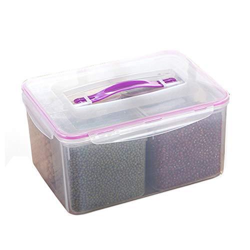 FEGSX - Scatola portaoggetti per frigorifero e congelatore, a quattro scomparti, sigillata, per cucina, multiuso, 0414 (colore viola trasparente)