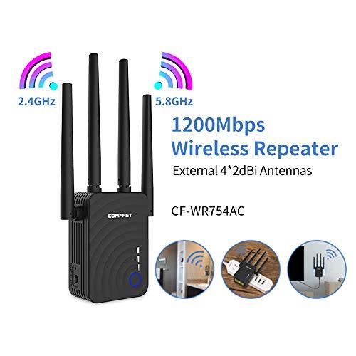 1200Mbps inalámbrica WiFi Extender WiFi Repetidor/Router de Doble Banda de 2,4 y 5,8 GHz 4 Wi Fi de la Antena de Largo Alcance Amplificador de la señal
