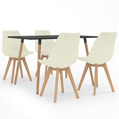 vidaXL Essgruppe 5-TLG. Esszimmergruppe Esstischset Tischset Sitzgruppe Esszimmertisch Esstisch mit 4 Stühlen Küchentisch Esszimmergarnitur Creme