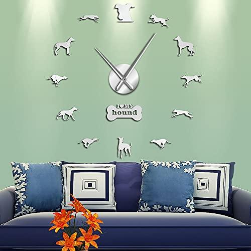 I Love My Hound Dog Efecto de Espejo 3D DIY Reloj de Pared Diseño de Animales Tienda de Mascotas Puppy Lover Decoración del hogar Reloj Autoadhesivo Reloj-47 Pulgadas