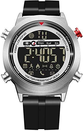 Intelligente elektronische Uhr, soziale Interaktive, leuchtende Bluetooth-Foto-Kalorie, gesund, Sport, Stahlband, Armbanduhr kompatibel mit Android und iOS, Schwarz-Silber