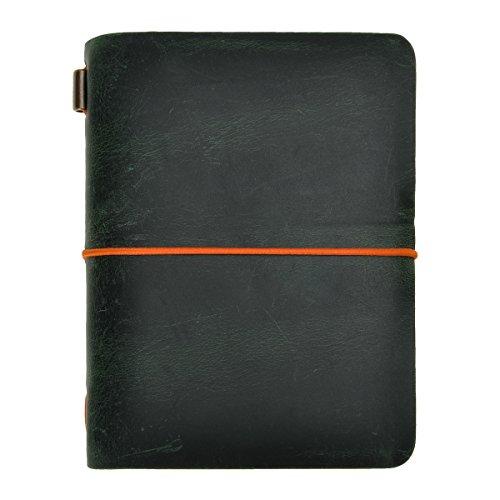 ZLYC Reisetagebuch, handgemacht, Leder, Vintage-Stil, nachfüllbar, Passgröße. Größe S dunkelgrün