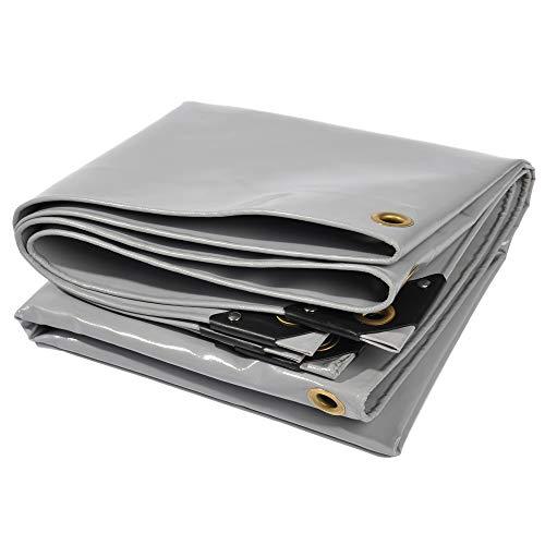 Nemaxx Lona de protección PLA34 Premium 300 x 400 cm; Gris con Ojales, PVC de 650 g/m², Cubierta, Lona de protección. Impermeable y a Prueba de desgarros, 12m²