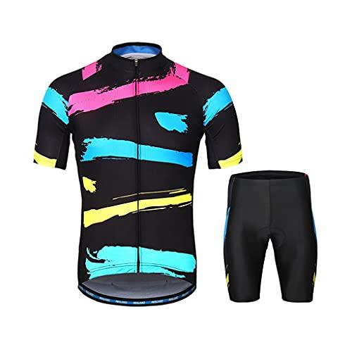 Los Hombres de Manga Corta Jersey de Ciclismo con Conjunto de Pantalones Cortos Acolchados, Bicicleta de Carretera Ropa de Bicicleta Cremallera Completa (Color : Black, Size : XXL)
