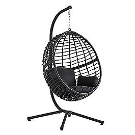 CONCEPT USINE – Fauteuil Suspendu Noir en Résine Tressée Façon Rotin Design Auroa – Structure en Acier – Coussin…