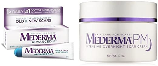Mederma Advanced Scar Gel with PM Intensive Overnight Scar Cream 1.7 oz