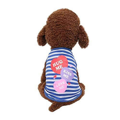 Coversolat Hundeshirt Kleine Hunde Sommer T-Shirt Weste Liebe Drucken Hundekostüm für Französische Bulldogge Chihuahua