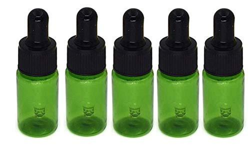10Stücke 10 ml / 0,3 Unze Nachfüllbar Grün Kunststoff Ätherisches Öl Tropfflaschen mit Glaspipetten und Gummikopf Gehobene Toner Gel Kopf Tropfflasche Reisen Probenbehälter Für Ätherisches Öl