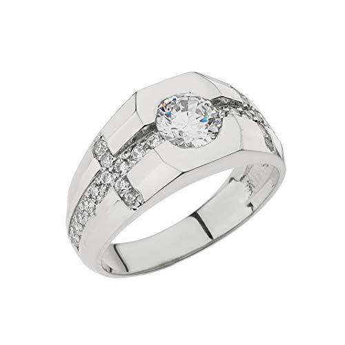 Kleine Schätze Herren Ring Herren 10 Karat Weißgold Diamant Kreuz Ring Mit Weiß Topas Zentrum Stein