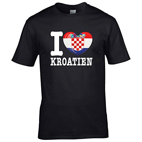 FanShirts4u Herren T-Shirt - I Love Kroatien Hrvatska Croatia - WM EM Trikot Liebe Herz Heart (5XL, I Love Kroatien)