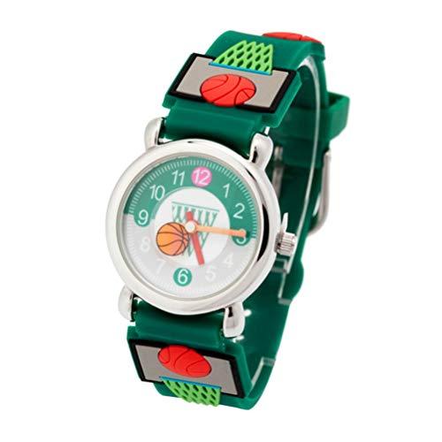 Hemobllo Kinder Sehen Basketball 3D Cartoon Schöne Wasserdichte Armbanduhr Geschenk für Junge Kinder Kleinkinder Festival Geburtstag (Grün)