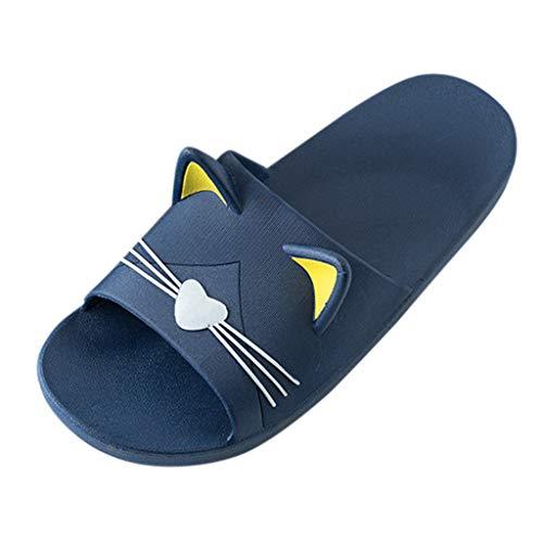 Sandali Home Interno Pantofole Cartone Animato Gatto Gatto Famiglia Scarpe Spiaggia Uomo e Donna (44-45 EU,Blu Scuro)