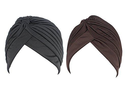 hikong - 2 paños musulmanes para mujer, turbante indio, turbante para la cabeza, para la pérdida de cabello o quimioterapia, talla única Negro y marrón. Talla única