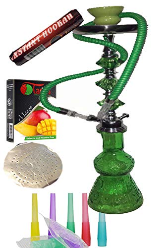 1 hose Green 22' hookah, comes with Mango flavor .5 mouth tips, charcoal roll, tonge, 25 foil (1 Hose Green 22 with Mango)