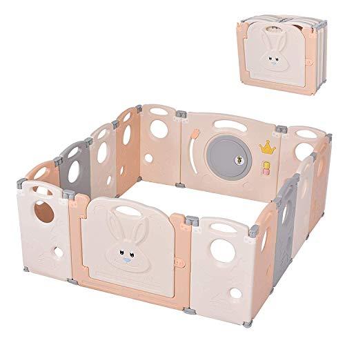 papasbox Laufgitter Laufstall Baby, Faltbarer 14-Panel-Sicherheitsbereich für Kinder mit Verriegelungstor, rutschfeste Gummibasen, einstellbare Form, tragbares Design für den Innen- und Außenbereich
