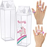 2 Pieces Milk Carton Water Bottle 500 ml Unicorn Square Milk Bottles Box Clear Carton Juice Bottles BPA-Free Portable Water Bottle with 6 Unicorn Rings Rainbow Rubber Rings for Outdoor Travel Camping