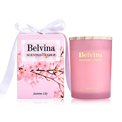 Belvina Scented Candle Jasmine Lily 230g, Gift Candle with Ribbon, Natural Soy Wax