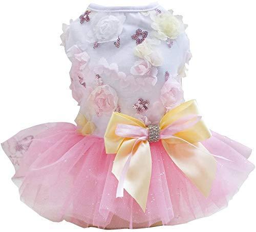 Izefia Hundklänning valpkjol hund prinsessklänningar Rdc husdjur tutu blomma och paljetter prick bröllop spetsklänning lyxig rosett klänning för liten hund flicka (L, rosa)