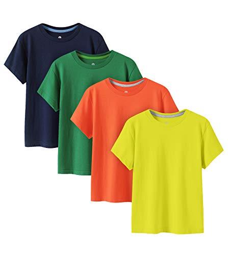 LAPASA Pack de 4 Camiseta para Niño o Niña Unisex de Manga Corta 100% Algodón K01 (4-5 Años (Largo 44 cm, Pecho 34 cm), Naranja, Amarillo Oscuro, Verde Oscuro, Azul Oscuro)