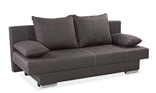 Schlafsofa Schlafcouch Bettsofa | B 190 x H 80 x T 88 cm | Webstoff Braun | Schlaffunktion