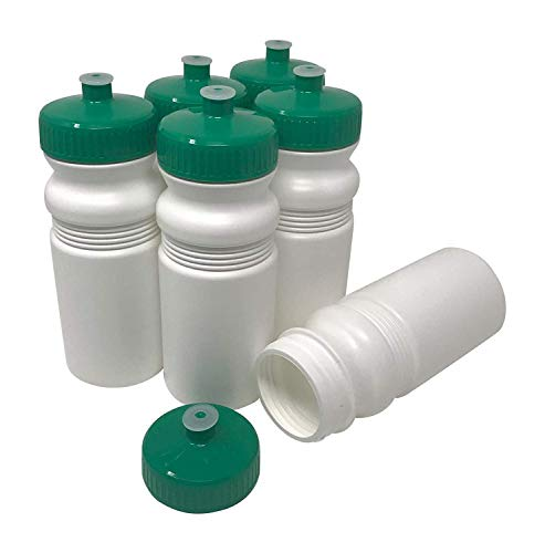 CSBD 20 oz Sports Water Bottles, 6 Pack, Reusable No BPA Plastic, Pull Top Leakproof Drink Spout, Blank DIY Customization for Business Branding, Fundraises, or Fitness White Bottle Green Lids