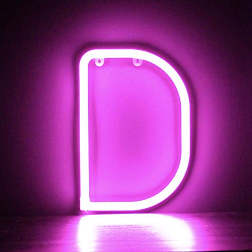 Smiling Faces UK Neon LED Pink Buchstaben Licht Zeichen - Wandbehang batteriebetrieben - Brief D