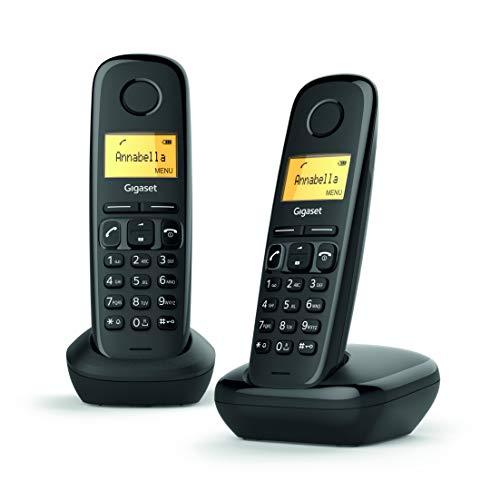 Gigaset A170 Duo, Due Telefoni Portatili, Chiamate Interne, Linea analogica, Trasferimento di Chiamata, Installazione Automatica, Nero [ITALIA]