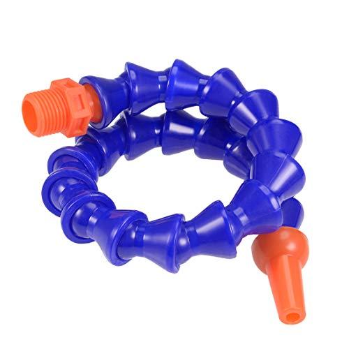 2 Pcs Blue Orange Plastic Flexible Water Oil Coolant Pipe 1//4PT Thread
