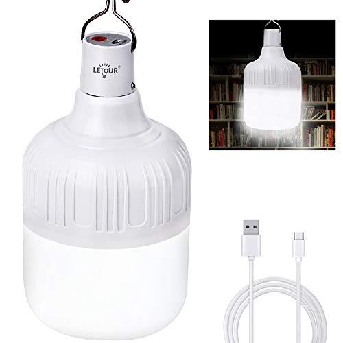 Lampe de camping 60 W LETOUR Portable Extérieur Ampoule Ampoule LED Dimmable 5 Modes d'Éclairage Rechargeable USB Suspensions pour Camping/Terrasse/Jardin/BBQ