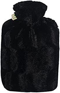 Hot Water Bottle with Cover - Hot Cold Pack Made of Burst Resistant Thermoplastic with Fleece Sleeve Helps Relieve Muscle Aches & Pains, Menstrual Cramps, Flu Symptoms (1.8 L Faux Fur, Black)