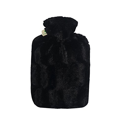 Price comparison product image Hot Water Bottle with Cover - Hot Cold Pack Made of Burst Resistant Thermoplastic with Fleece Sleeve Helps Relieve Muscle Aches & Pains,  Menstrual Cramps,  Flu Symptoms (1.8 L Faux Fur,  Black)