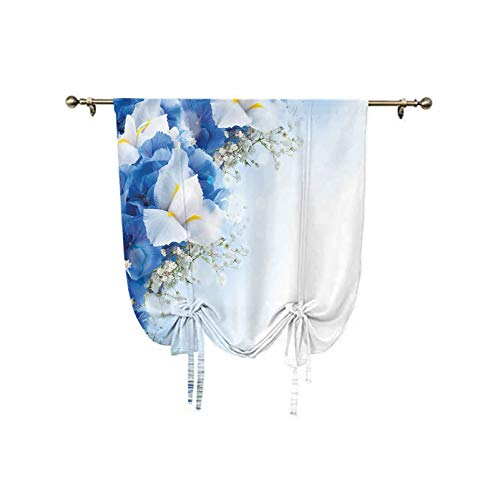 oobon Blue Tie Up Window Shade,Blue Hydrangeas and White Irises Over The Sea Romantic Bouquet Dreamy Adjustable Balloon Curtain Shade,31x47 Inch,for Small Window/Kitchen Blue Blue White