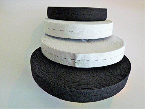 Gumiband 2 Meter Lochgummi 30 mm Breit in Schwarz oder Weis (Schwarz)