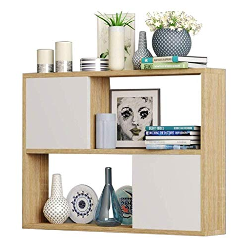 HLZ Floating Shelves Wall Shelf Solid Wood with Door Bookcase, Small Ornaments Display Stand Floating Shelves (Color : A, Size : 80x20x65cm)