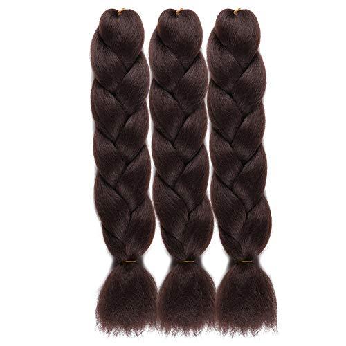"WOME Kanekalon Braiding Hair Dark Brown Jumbo Braiding Hair 3Pcs/Lot High Temperature Synthetic Crochet Braids Hair Extensions(24"",100g/Pcs)"
