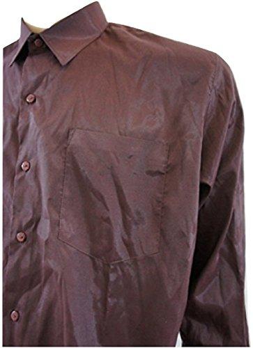 M&P Fashion Soie thaïlandaise Shimmer Manches Longues pour Homme - Rouge - Large