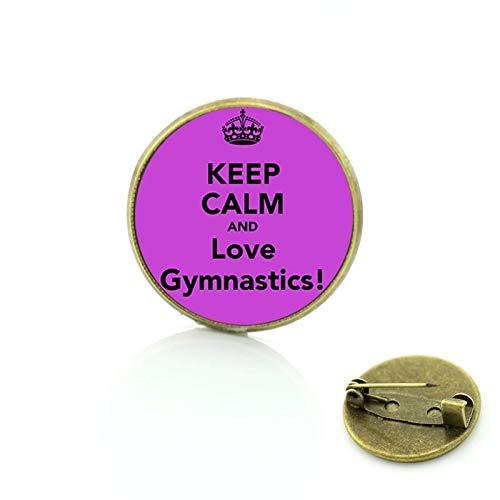 Nueva alta calidad mantener la calma y el amor gimnasia insignia pines moda colorido mujeres encantos casual deportes amantes broches joyería