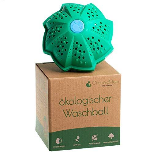 OrganicMom® Öko Waschball mit verbesserter Reinigungskraft/Nachhaltig waschen ohne Waschmittel/Waschkugel für Waschmaschine/Ideal für Babys & Allergiker/BPA Frei/Vegan/Umweltfreundlich
