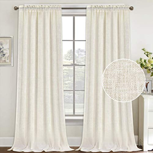 Natural Linen Curtains 108 Inches Extra Long Rod Pocket Semi Sheer Curtain Drapes Elegant Casual Linen Textured Window Draperies, Light Filtering Privacy Added Home Fashion 2 Panels, Ivory