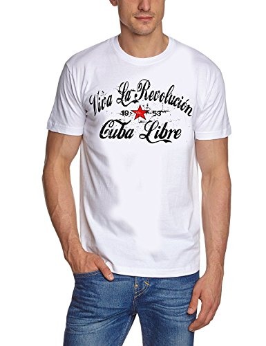 \'Coole T-Shirt Viva la Revolution Kuba Libre, Damen Herren, Weiß - weiß, XXL
