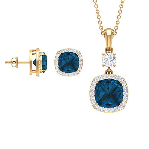 Rosec Jewels 18 quilates oro amarillo cojín Round Brilliant Blue Moissanite Topacio azul - Londres