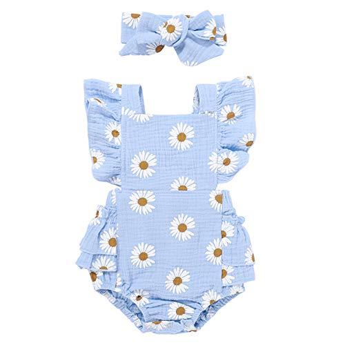 Domeilleur Conjunto de ropa de verano con diseño de margaritas para recién nacido, con diadema