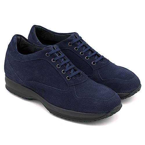 Zapatos de Hombre con Alzas Que Aumentan Altura hasta 6 cm. Fabricados en Piel. Modelo Matera (39, Azul Marino)